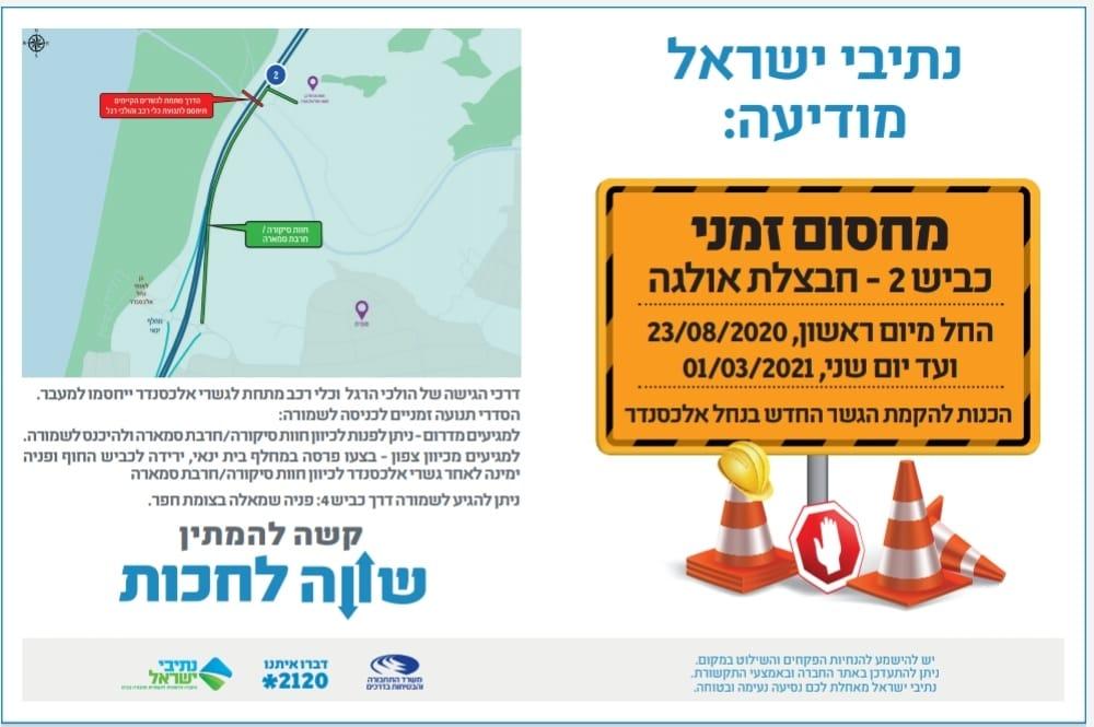 נתיבי ישראל – עבודות בכביש 2